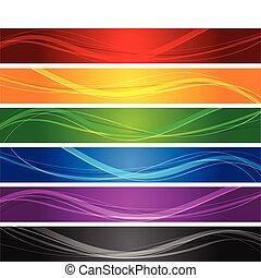 beklæde, bølgede, bannere, farverig