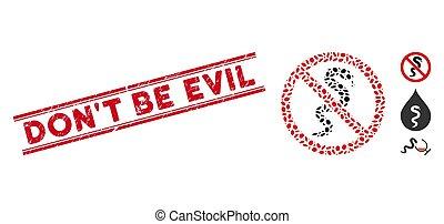 beklæde, blive, gør ikke, mosaik, onde, nej, slange, frimærke, nød, ikon