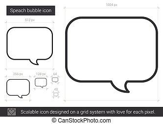 beklæde, boble, speach, icon.