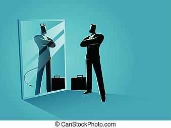 beliggende, djævel, forside, reflekter, spejl, forretningsmand