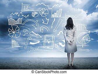beliggende, flowchart, kigge, data, businesswoman