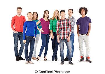 beliggende, fulde, folk, folk., isoleret, unge, muntre, mens, kamera, henkastet, længde, hvid, smil
