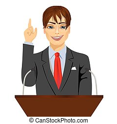 beliggende, mikrofoner, podium, bag efter, orator