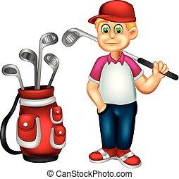 beliggende, morsom, bringe, pind, smil, golfer, cartoon