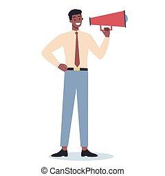 beliggende, specielle, firma, karakter, megaphone., indgåelse