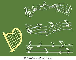 bemærk, musik, baggrund, harpe