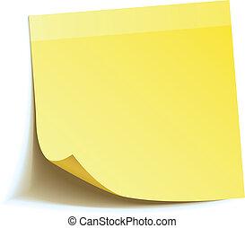 bemærk, pind, gul