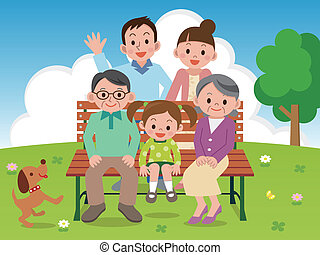 benc, glade, park, familie, siddende