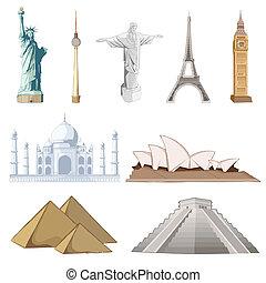 berømte, sæt, omkring, verden, monument