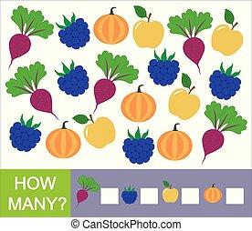 berries, pumpkin)., frugter, mange, grønsager, antal, hvordan, boldspil, (apple, mathematics., lærdom, children., beet, blackberry, optælling, preschool
