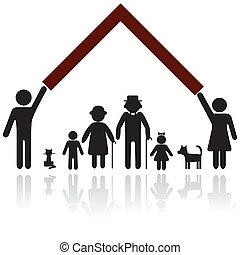 beskyttelse, silhuet, familie, folk