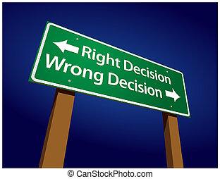 bestemmelse, bestemmelse, illustration, tegn, forkert, ret, grønne, vej