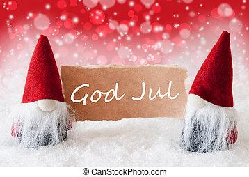 betyder, gud, card, jul, gnomer, glædelig jul, rød, christmassy