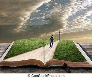 bibel, åbn, kors, mand