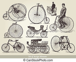 bicycles, sæt, gamle