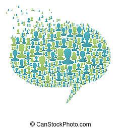 bilagt, boble, folk, begreb, mange, tale, eps8, sociale, vektor, silhouettes., netværk