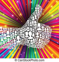 bilagt, stråler, eps10, tommelfinger, farverig, folk, mange, symbol, illustration, oppe, baggrund., vektor, silhouettes.