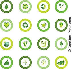 biografi., sæt, iconerne, eco, symboler, miljøbestemte, omkring, fyldte