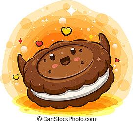 biskuiten, cartoon, fløde, karakter, kawaii