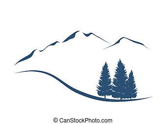 bjerge, viser, illustration, stylized, eighty, landskab, alpine