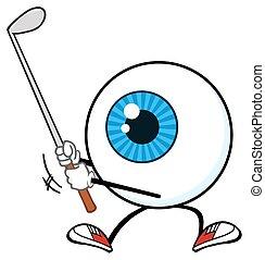 blå, øjeæble, karakter, golfer