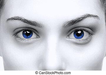 blå øje, kvindelig