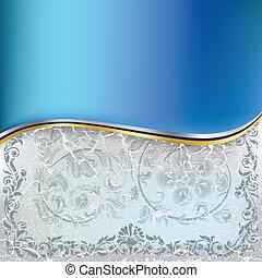 blå, abstrakt, ornamentere, baggrund, blomstrede, halvtosset, hvid