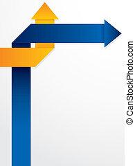 blå, abstrakt, pile, brochure, konstruktion, appelsin