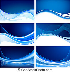 blå, abstrakt, sæt, baggrund, vektor