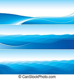 blå, abstrakt, sæt, baggrunde, bølge