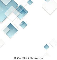blå, abstrakt, teknologisk., konstruktion, geometriske, kvadraterer
