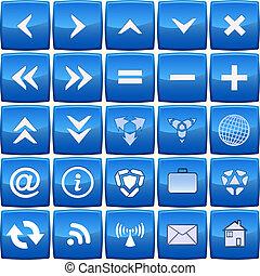 blå, abstrakt, vektor, sæt, ikon
