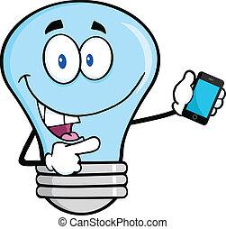 blå, ambulant, pære, telefon, lys