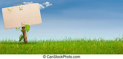 blå, banner, tegn, himmel, grønne, horisontale