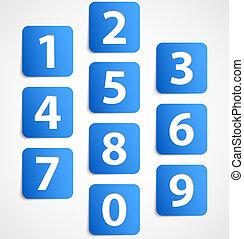 blå, bannere, antal, ti, 3