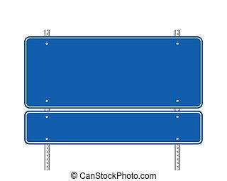 blå, blank, vej underskriv