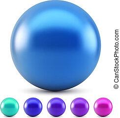 blå bold, isoleret, illustration, farver, vektor, blanke, baggrund, hvid, forkølelse, samples.