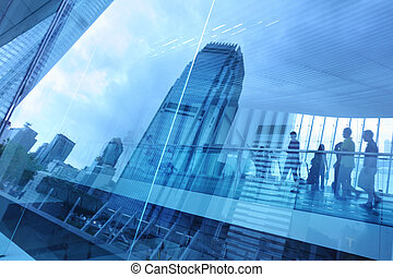 blå, byen, baggrund, glas