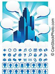 blå, byen, iconerne