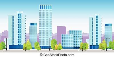 blå, byen, skylines, bygning, illustration, arkitektur, cityscape