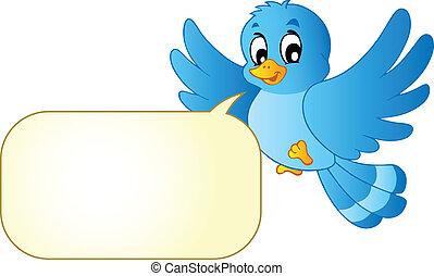 blå, comics, boble, fugl