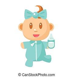 blå, cute, gå, holde, enkel, infant, lille, vektor, flaske, baby, illustrationer, mælk, pajama, glade