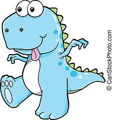 blå, dinosaurus, dumme, goofy, t-rex
