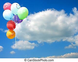 blå, farvet, tekst, himmel, imod, sted, gilde, balloner, din, tom