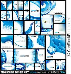 blå, firma, bølger, korporativ, collection:, card