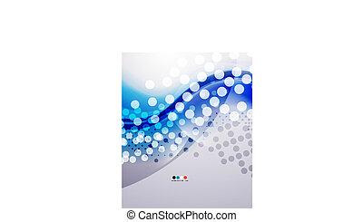 blå, firma, moderne, bølge, forkølelse, køle