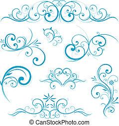 blå form, scroll