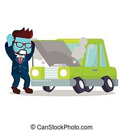 blå, forretningsmand, brudt, panicked, automobilen