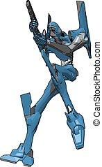 blå, geværet, illustration, robot, baggrund., vektor, hvid