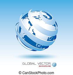 blå, globale, vektor, baggrund